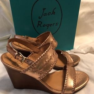 Bronze Jack Rogers Leather Wedges
